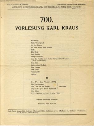 700. Vorlesung Karl Kraus