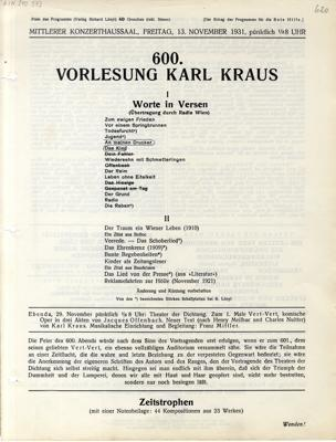 600. Vorlesung Karl Kraus