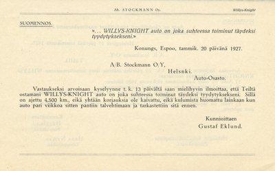 Muutamia huomattavia Willys-Knight omistajien lausuntoja