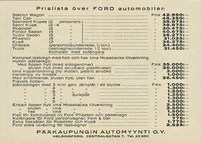 Prislista över Ford automobiler