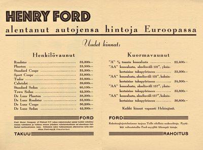 Henry Ford alentanut autojensa hintoja Euroopassa