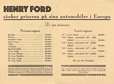 Henry Ford sänker priserna på sina automobiler i Europa