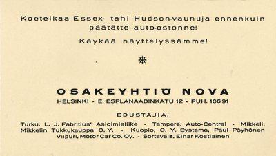 Nova - koetelkaa Essex- tahi Hudson-vaunuja ennenkuin päätätte auto-ostonne!