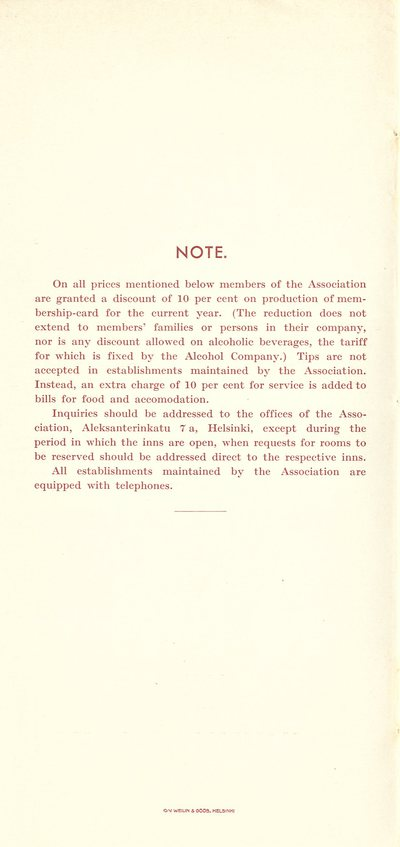 Inns and communications 1935