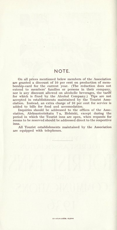 Tourist inns and communications 1936