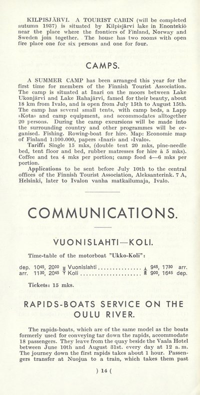 Tourist inns and communications 1937