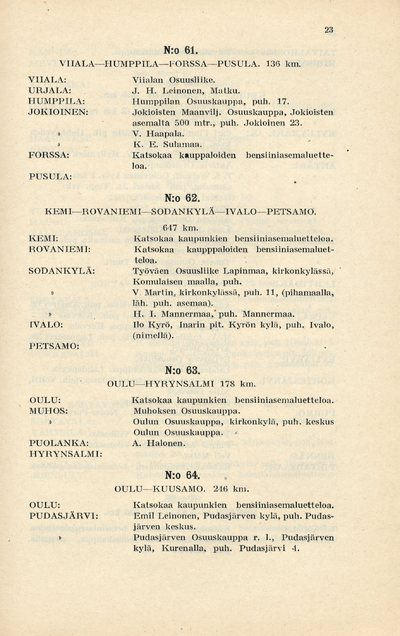 Kaava Suomen yleisimmistä maantiereiteistä sekä luettelo Record-bensiinijakeluasemista 1926