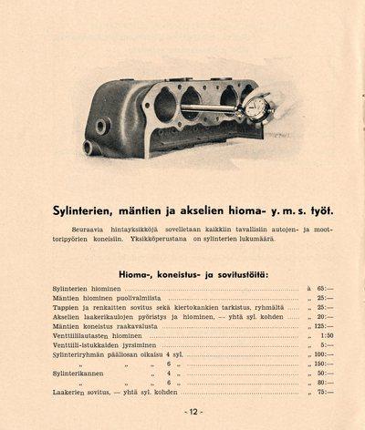Hinnasto No 7 jäähdyttäjistä, sylinterien, mäntien ja akseleiden hioma- y. m. töistä, kupari-asbestitiivisteistä