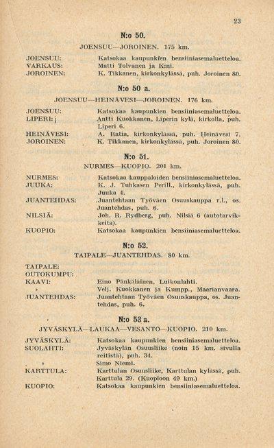 Kaava Suomen yleisimmistä maantiereiteistä sekä luettelo Record-bensiiniakeluasemista 1927
