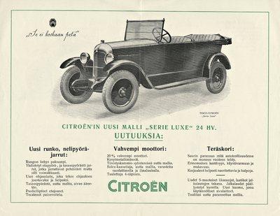 Citroën uusi malli 24 hv. varustettu nelipyöräjarruilla, voimakkaammalla moottorilla ja teräskorilla