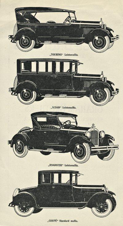Kestävyydestään, lujuudestaan ja huokeasta hinnastaan maailman kuuluja Dodge Brothers henkilövaunuja sekä Graham Brothers kuorma- ja matkailuautoja