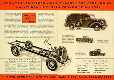 Ford presenterar nu en ny serie av lastvagnar för år 1938, däribland ett fullständigt nytt 1 1/2 tons chassi