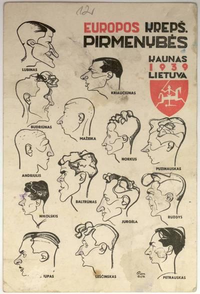 Juozas Olinardas Penčyla. Europos krepš. pirmenybės. Kaunas/1939/Lietuva