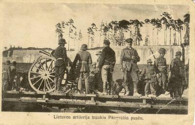 Atvirukas. Lietuvos artilerija traukia Panevėžio pusėn