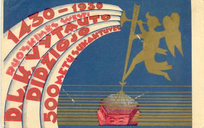 Atvirukas. 1430-1930 RUOŠKIMĖS ŠVĘSTI D.L.K. VYTAUTO DIDŽIOJO 500 METŲ SUKAKTUVES