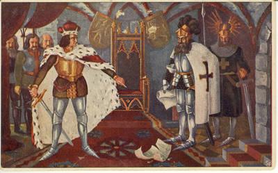 Vytautas Kazimieras Jonynas. Atvirukas. Vytauto susipykimas su Vokiečių Ordeno pasiuntiniais 1409 m.