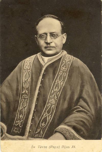 Atvirukas. Šv. Tėvas (Papa) Pijus XI