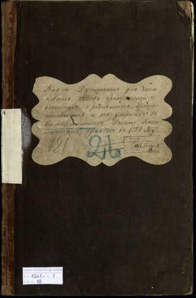 Balbieriškio RKB gimimo, santuokos ir mirties metrikų knyga (dublikatas). 1899 m.