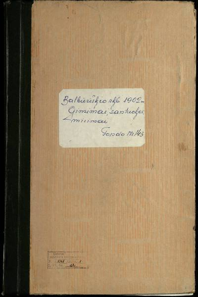 Balbieriškio RKB gimimo, santuokos ir mirties metrikų knyga (dublikatas). 1902 m.
