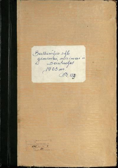 Balbieriškio RKB gimimo, santuokos ir mirties metrikų knyga (dublikatas). 1903 m.