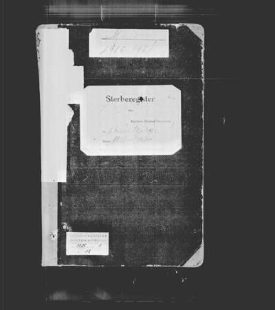 Skaistgirio RKB 1916-1918 m. mirties metrikų nuorašų ir 1920-1925, 1929 m. mirties metrikų juodraščių knyga. 1916--1929 m.