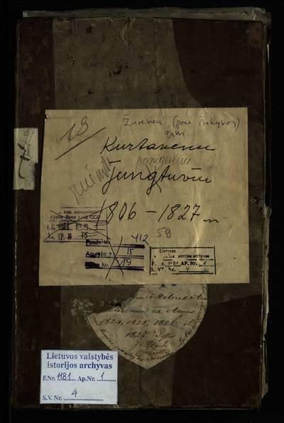 Žarėnų RKB gimimo metrikų knyga (yra Žarėnų evangelikų-liuteronų bažnyčios 1824--1827 m. gimimo metrikų įrašai). 1806--1827 m.