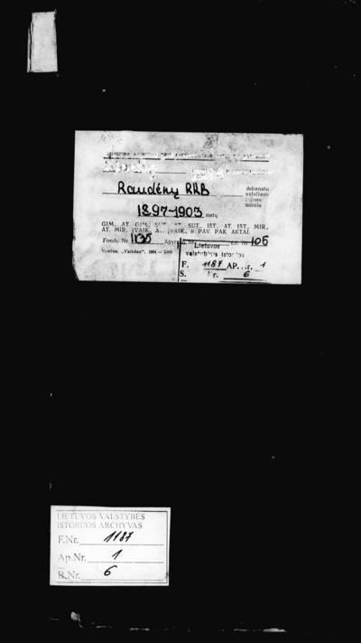 Raudėnų RKB 1897--1898 m., 1900--1903 m. gimimo metrikų knyga. 1897--1903 m.