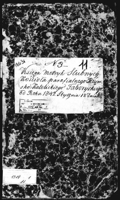 Tabariškių RKB santuokos metrikų knyga (yra abėcėlinė rodyklė). 1842--1848 m.