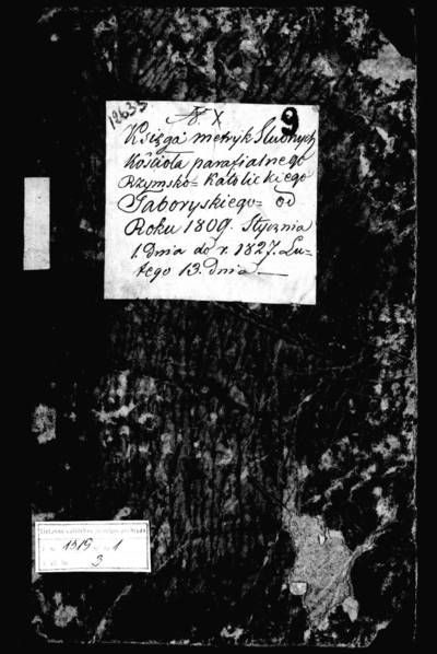 Tabariškių RKB santuokos metrikų knyga (yra abėcėlinė rodyklė). 1809--1827 m.