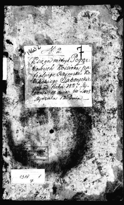 Tabariškių RKB mirties metrikų knyga (yra abėcėlinė rodyklė). 1827--1845 m.
