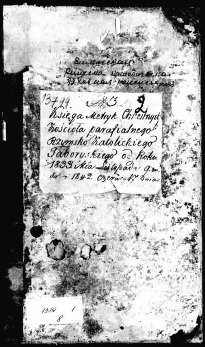 Tabariškių RKB gimimo metrikų knyga (yra abėcėlinė rodyklė). 1833--1842 m.