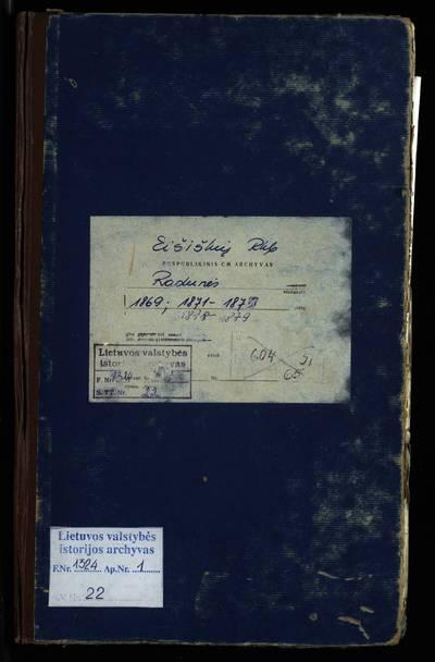 Eišiškių RKB 1869 m., 1871--1873 m., 1878--1879 m., gimimo, santuokos ir mirties metrikų nuorašų knyga. 1869 m., 1871--1873 m., 1878--1879 m.