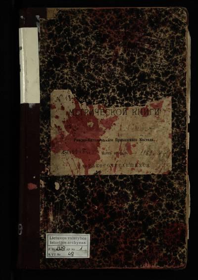 """Naujojo Daugėliškio RKB santuokos metrikų knyga (yra 1903--1914 m. santuokos metrikų abėcėlinės rodyklės fragmentas -- """"B"""" raidė). 1915--1921 m."""