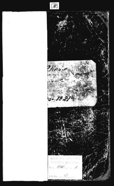 Pabiržės RKB mirties metrikų knyga (yra Smilgių koplyčios metrikai 1920 m.). 1910--1921 m.