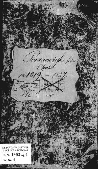 Panevėžiuko ir Vilkijos filijinių RKB gimimo metrikų knyga. 1819--1827 m.