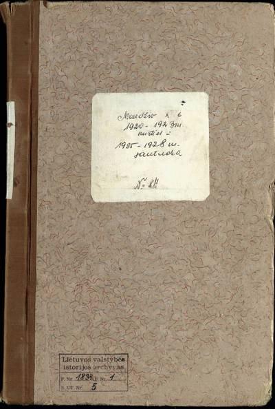 Mosėdžio RKB 1920--1923 m. mirties metrikų bei 1925--1928 m. priešsantuokinės apklausos knyga. 1920--1928 m.
