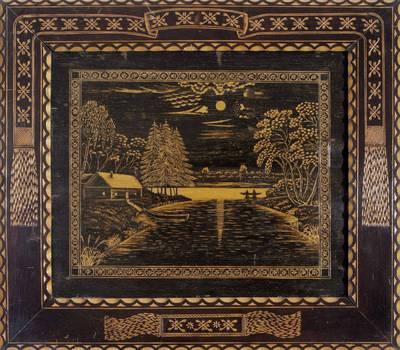 Nežinomas autorius. Medžio raižinys – peizažas. 2000