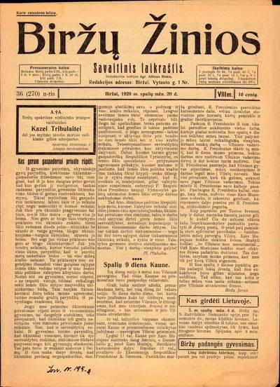 """Laikraštis """"Biržų žinios"""" 1929 m. Nr. 36"""