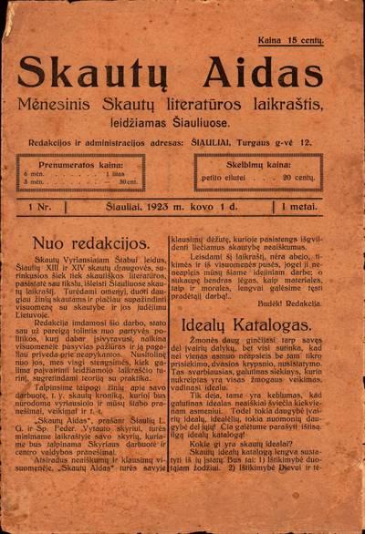 """Laikraštis """"Skautų aidas"""" 1923 m. Nr. 1"""