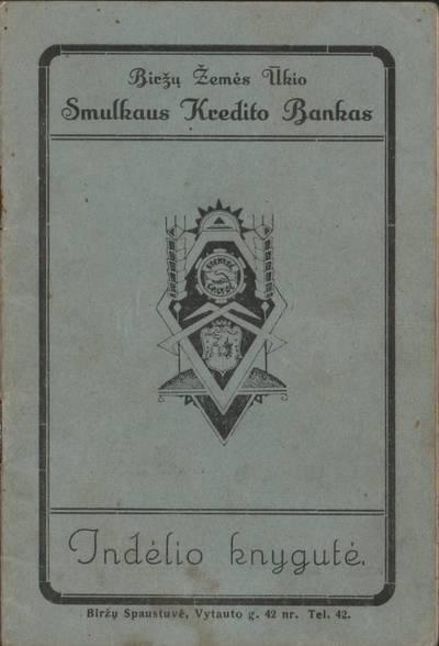 Biržų smulkaus kredito banko indėlininko knygelė