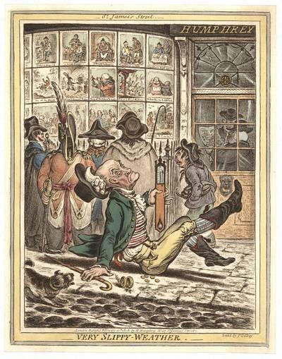James Gillray. Very slippy Weather (Lauke labai slidu). 1808