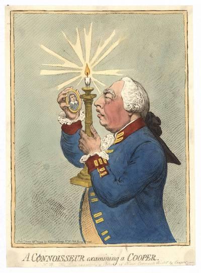 James Gillray. Connoisseur examining a Cooper (Žinovas tyrinėja Cooperį). 1792