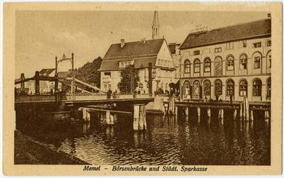 Memel - Börsenbrücke und Städt. Sparkasse. - 19?