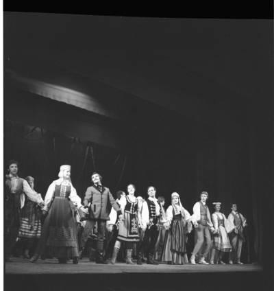 """[Šoka Klaipėdos tautinių šokių ir dainų ansamblis """"Žilvinas"""". Baigiamasis koncerto šokis] / Bernardas Aleknavičius. - 1980"""