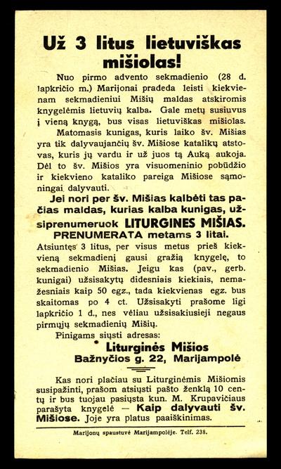 Už 3 litus lietuviškas mišiolas!. - 1937