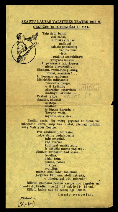Skautų laužas Valstybės teatre 1936 m. gegužės 18 d. Pradžia 16 val. / laužo rengėjai. - 1936