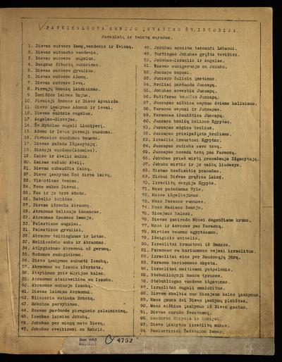 Paveiksluota Senojo įstatymo šv. istorija. - 1936