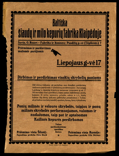 Baltiška šiaudų ir milo kepurių fabrika Klaipėdoje. - 193?