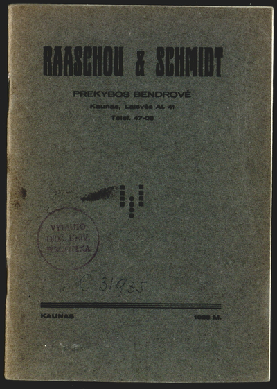 Raaschou & Schmidt prekybos bendrovė. - 1936