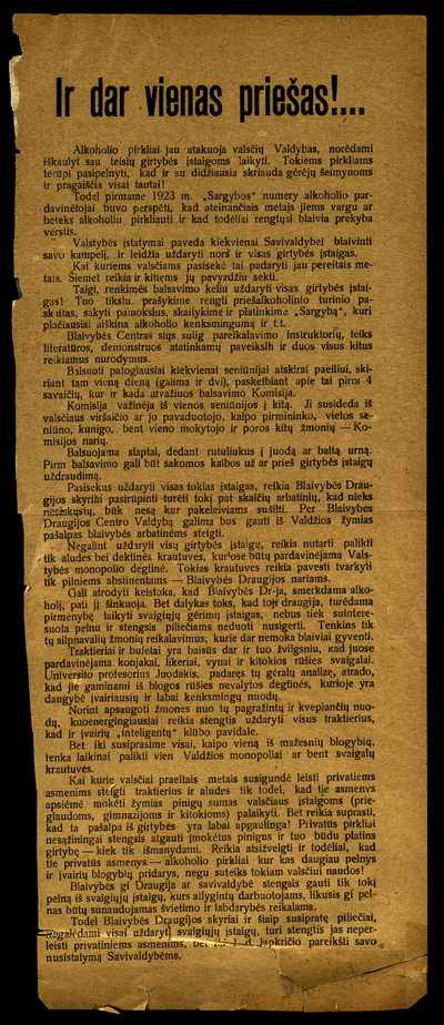 Ir dar vienas priešas!.. / Liet[uvių] kat[alikų] blaivybės draugijos Centro valdyba. - 1923